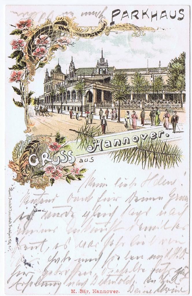 Litho,Gruß aus Hannover,gel.Bahnpost 1898  0