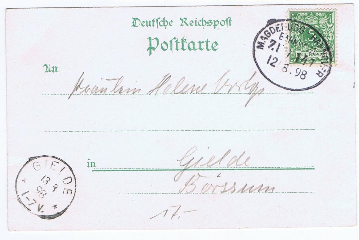 Litho,Gruß aus Hannover,gel.Bahnpost 1898  1