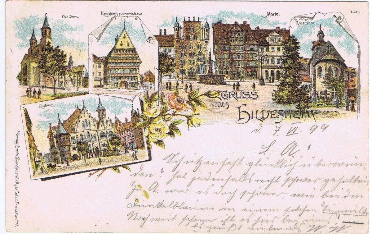 Litho,Gruß aus Hildesheim,gel.1899 0