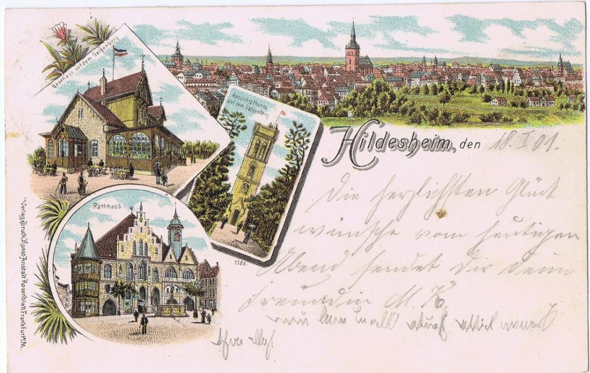 Litho,Gruß aus Hildesheim,gel.1901 0