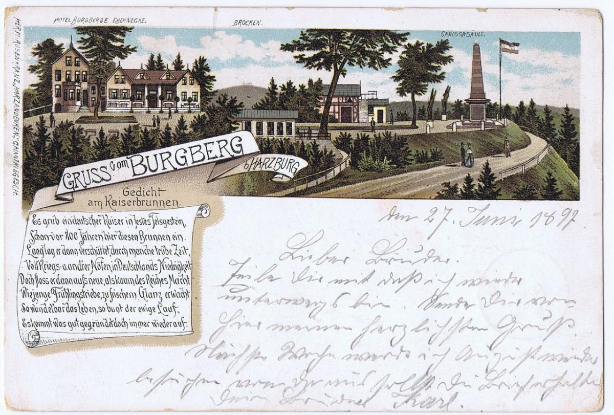 Litho,Gruß aus Bad Harzburg,gel.1897 0
