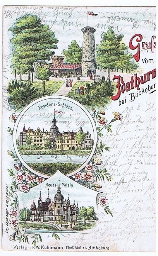 Litho,Gruß aus Bückeburg.gel.Bahnpost 1899 0