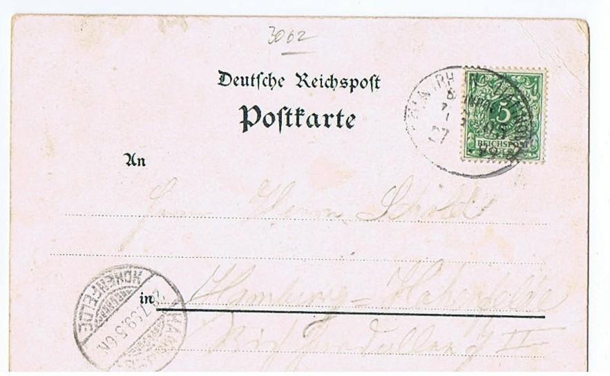 Litho,Gruß aus Bückeburg.gel.Bahnpost 1899 1
