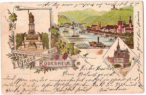 Litho Gruß aus Rüdesheim gel. 1906