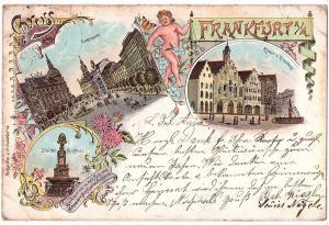 Litho Gruß aus Frankfurt gel.1898