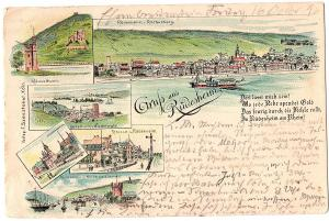 Litho Gruß aus Rüdesheim gel. 1896
