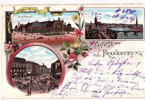 Litho Gruß aus Frankfurt gel.1901