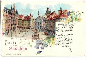Litho AK Gruß aus München gel.1898