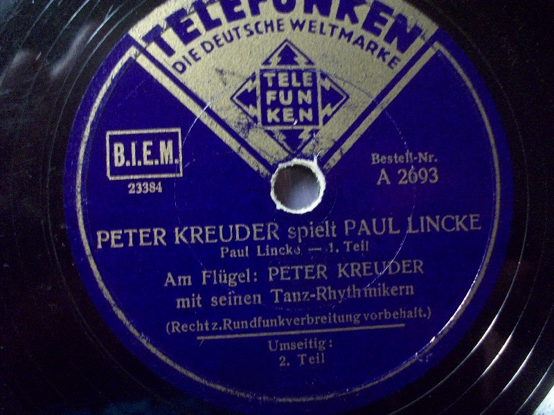 PETER KREUDER spielt PAUL LINCKE - Teil I & II - Telefunken 78rpm 10