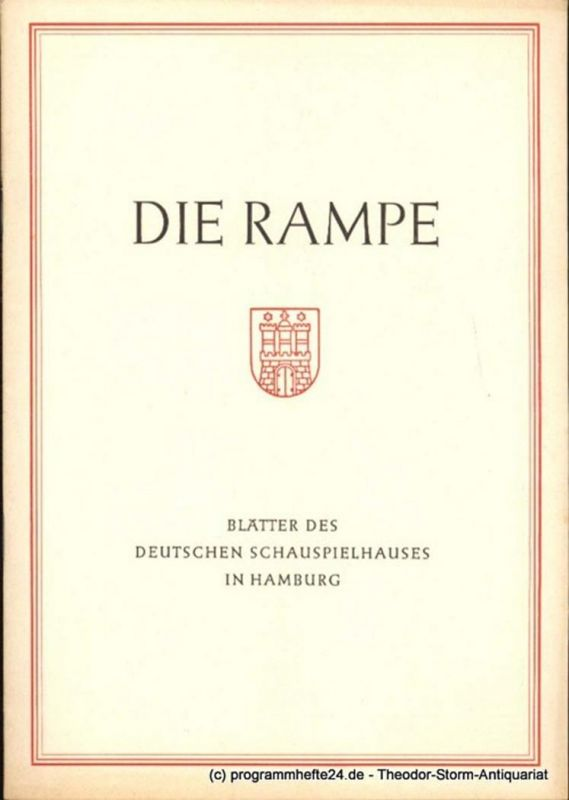 Lippert Albert, Benninghoff Ludwig Die Rampe. Blätter des Deutschen Schauspielhauses in Hamburg Spielzeit 1954 / 55 Heft 12. Die Räuber. Schauspiel in 14 Bildern von Schiller