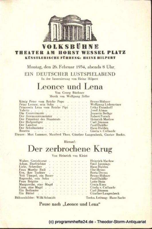 Rehberg Hans, Drews Wolfgang ( Hrsg. ) Friedrich I. Komödie in 3 Akten. Blätter des Deutschen Theaters und der Kammerspiele Direktion Heinz Hilpert Spielzeit 1937/38 Heft 2