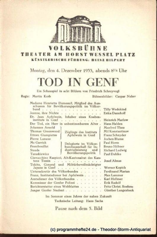 Hilpert Heinz, Shakespeare William Der Widerspenstigen Zähmung. Donnerstag, den 19. Oktober 1933 Programmheft