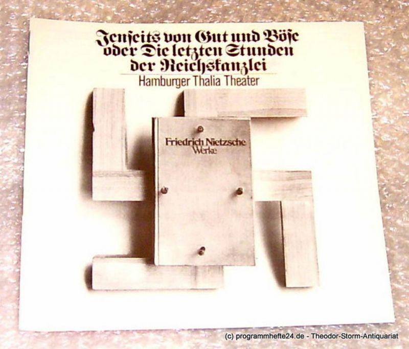 Thalia Theater Hamburg, Intendant Boy Gobert Jenseits von Gut und Böse oder Die letzten Stunden der Reichskanzlei von Helmut Lange. Uraufführung Programmheft Spielzeit 1975/76 Premiere 30. August 1975