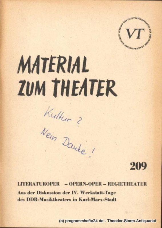 John Hans-Rainer Material zum Theater Nummer 209 Reihe Musiktheater Heft 36