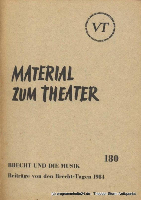 John Hans-Rainer Material zum Theater Nummer 180 Reihe Musiktheater Heft 34