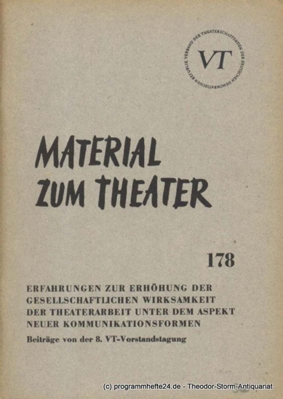 John Hans-Rainer Material zum Theater Nummer 178 Reihe Theater und Gesellschaft Heft 34