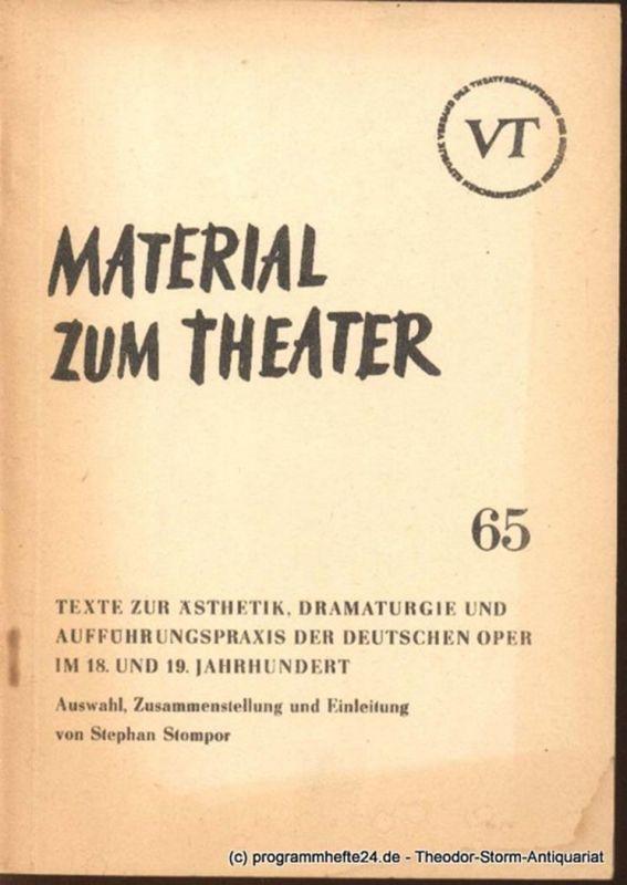 John Hans-Rainer Material zum Theater Nummer 65 Reihe Musiktheater Heft 14