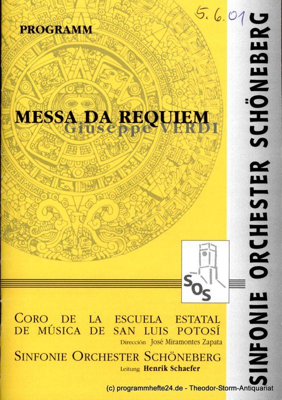 Sinfonie Orchester Schöneberg, Wollenweber Peter Programmheft Messa da Requiem. Giuseppe Verdi 3.-10. Juni 2001