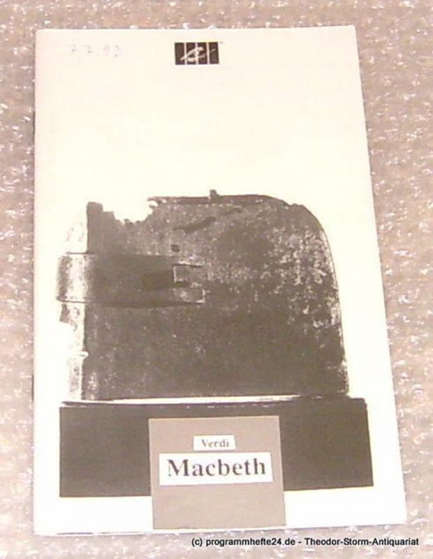 Städtische Theater Chemnitz, Leimer Volkmar Programmheft Macbeth. Premiere am 2. Juli 1993