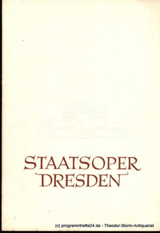 Staatsoper Dresden, Dr. Heinrich Allmeroth, Sprink Eberhard Programmheft Janosik. 28. August 1956. Blätter der Staatsoper Dresden Spielzeit 1955 / 56 Reihe A Nr. 5 1. Auflage