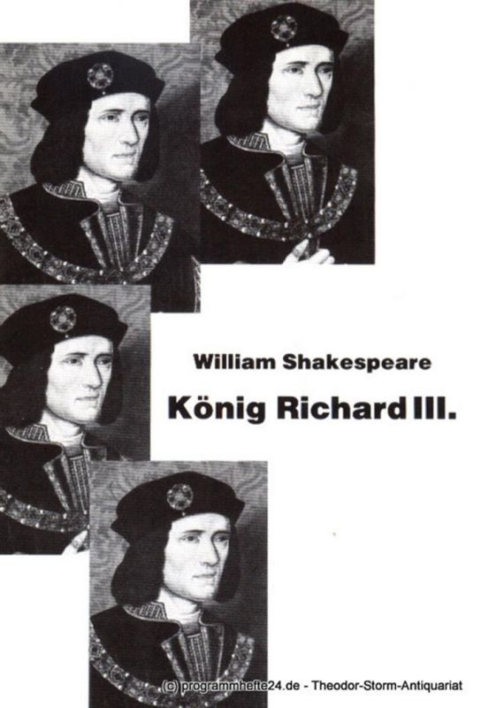 Westfälische Kammerspiele Paderborn, Friedrich Bremer, Schiffner Matthias Programmheft König Richard III. von William Shakespeare. Premiere 9. September 1988
