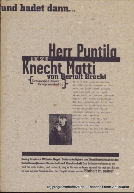 Deutsches Schauspielhaus in Hamburg, Frank Baumbauer, Lochte Julia, Schulz Wilfried Programmheft Herr Puntila und sein Knecht Matti von Bertolt Brecht. Premiere 10. Januar 1996