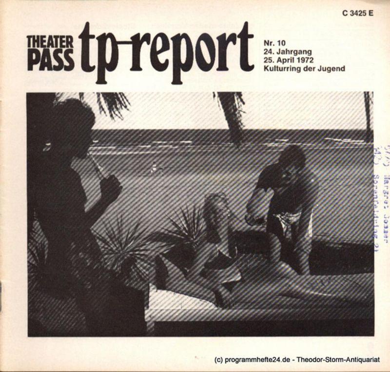 Kulturring der Jugend, Reincke Heinz Adolf Theaterpaß. tp-report Nr. 10 24. Jahrgang 25. April 1972 ( Reisen )