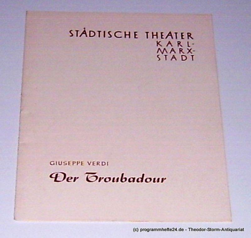 Städtische Theater Karl-Marx-Stadt, Witte Gunther, Koerth Manfred Programmheft Der Troubadour. Neuinszenierung am 12. Januar 1961