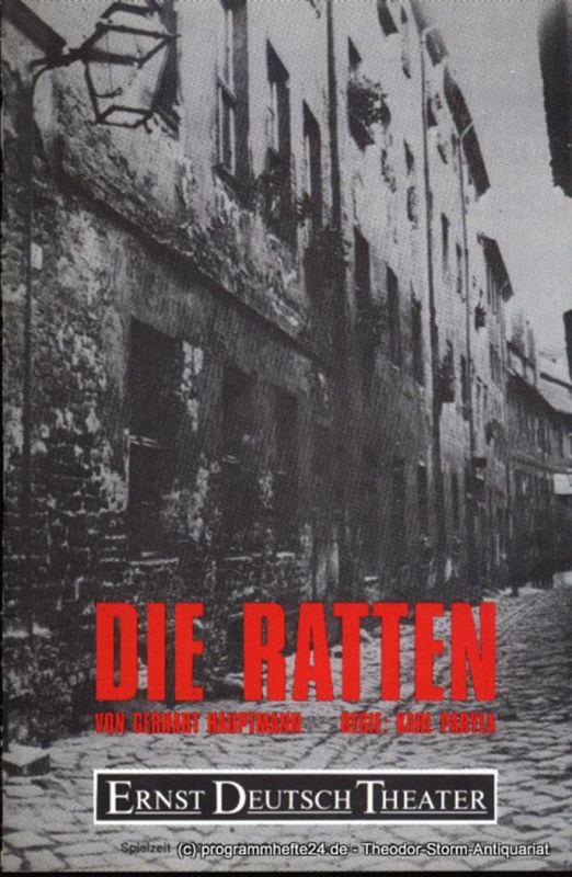 Ernst Deutsch Theater, Friedrich Schütter, Wolfgang Borchert Programmheft Die Ratten von Gerhart Hauptmann. Premiere 18. Januar 1990. Spielzeit 1989 / 90. Mit Stückabdruck in der Regiefassung