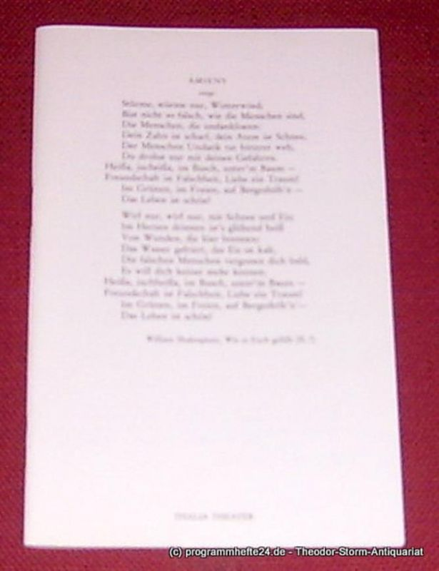 Thalia Theater Hamburg, Peter Striebeck, Volker von Vogel, Oertzen Dietrich von Programmheft Wie es euch gefällt von William Shakespeare. Premiere 3. Oktober 1982. Spielzeit 1982 / 83