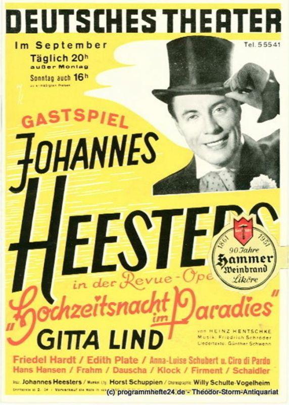 Deutsches Theater München, Paul Wolz, Oscar Angerer Programmheft Gastspiel Johannes Heesters: Revue-Operette Hochzeitsnacht im Paradies von Heinz Hentschke. 23. Folge 2. Sept. bis 3. Okt. 1954