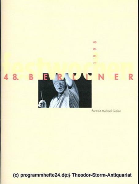 Berliner Festwochen, Ulrich Eckhardt Programmheft 48. Berliner Festwochen 1998
