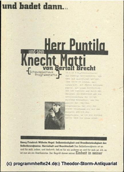 Deutsches Schauspielhaus in Hamburg, Frank Baumbauer, Julia Lochte, Wilfried Schulz Programmheft Herr Puntila und sein Knecht Matti von Bertolt Brecht. Premiere 10. Januar 1996