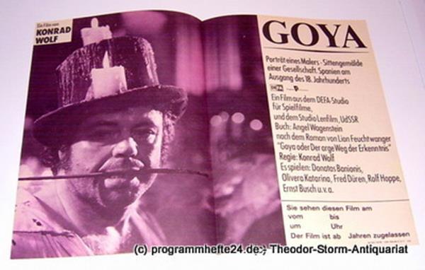 DEFA Studio für Spielfilme und Studio Lenfilm UdSSR Filmplakat GOYA. Porträt eines Malers - Sittengemälde einer Gesellschaft. Spanien am Ausgang des 18. Jahrhunderts