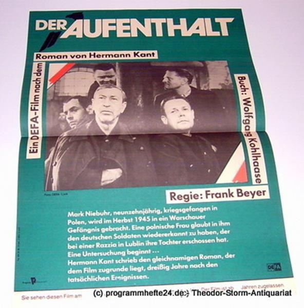 DEFA Filmplakat Der Aufenthalt. Ein DEFA-Film nach dem Roman von Hermann Kant