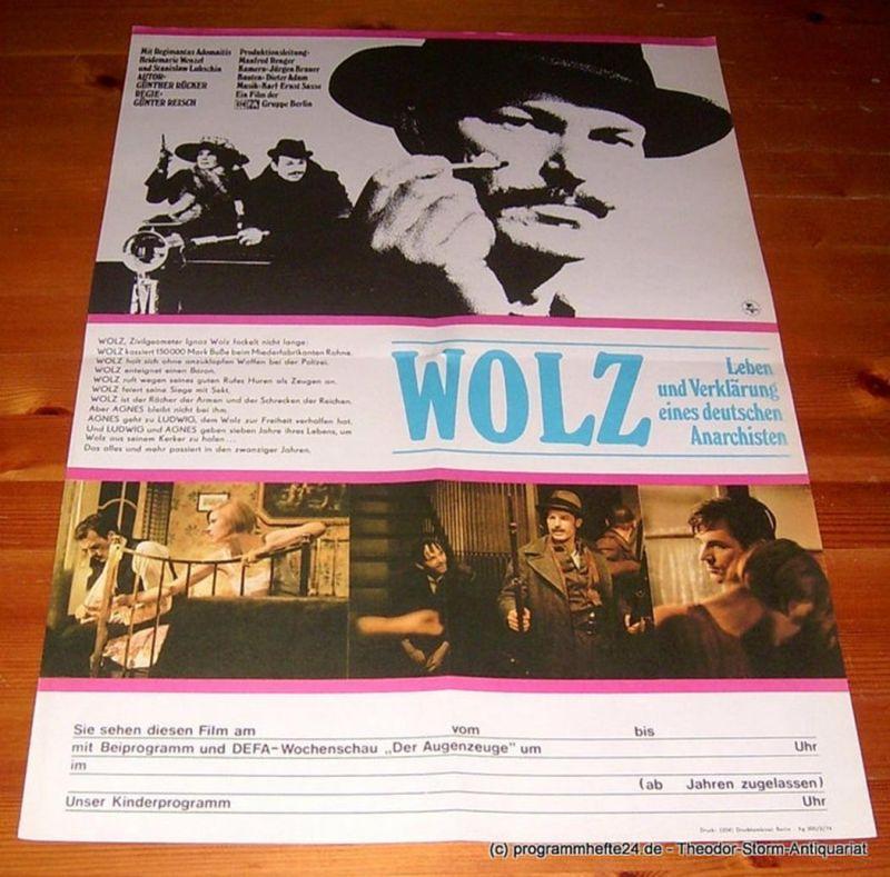 DEFA Gruppe Berlin Filmplakat WOLZ. Leben und Verklärung eines deutschen Anarchisten