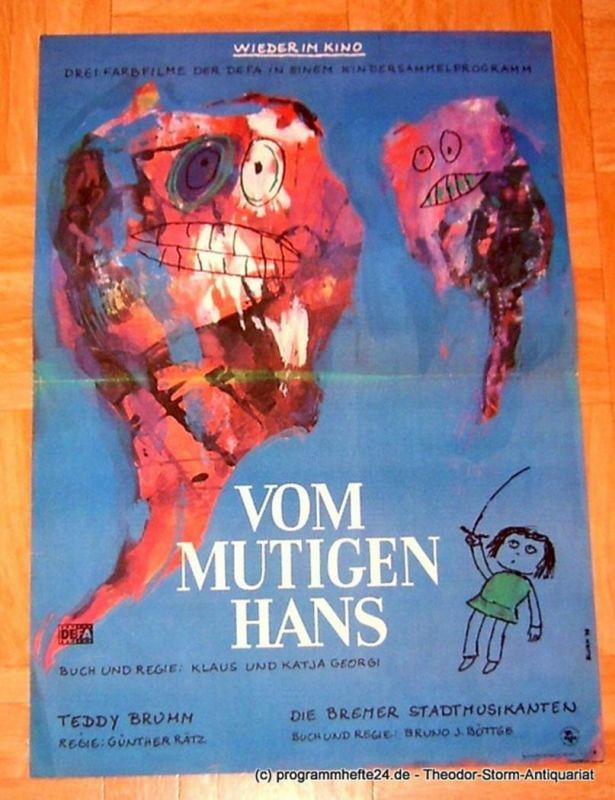 DEFA Filmplakat Vom mutigen Hans - Teddy Brumm - Die Bremer Stadtmusikanten. Drei Farbfilme in einem Kindersammelprogramm