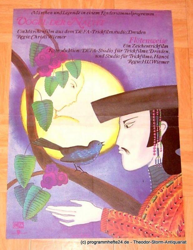 DEFA Studio für Trickfilme Dresden, Studio für Trickfilme Hanoi, Gisela Wangel Filmplakat Vogel der Nacht - Flötenweise. Märchen und Legende in einem Kindersammelprogramm