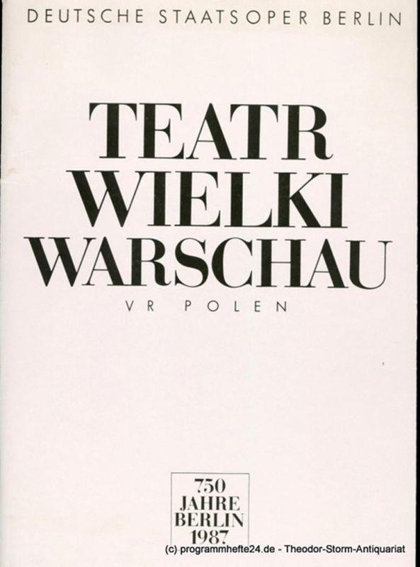 Künstler-Agentur der DDR, Wolfgang Lange, Gerd Rienäcker, Stefan Dachsel Programmheft Teatr Wielki Warschau. 750 Jahre Berlin 1987