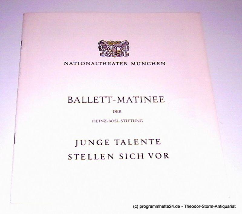 Nationaltheater München, Konstanze Vernon Programmheft Ballett-Matinee der Heinz-Bosl-Stiftung. Junge Talente stellen sich vor. Sonntag, 25. April 1982