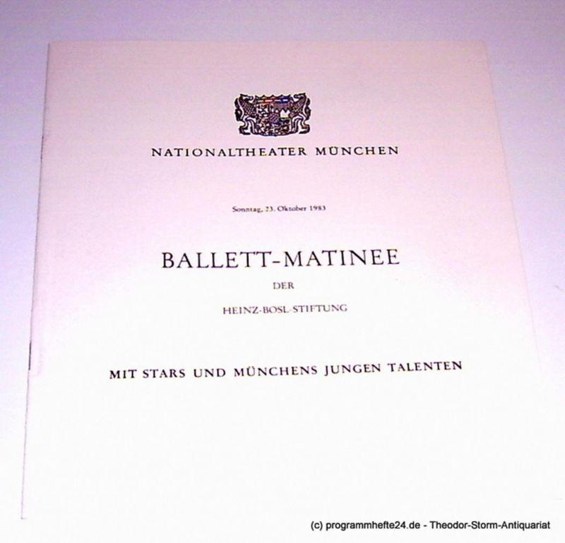 Nationaltheater München, Konstanze Vernon Programmheft Ballett-Matinee mit Stars und Münchens jungen Talenten. Sonntag, 23. Oktober 1983