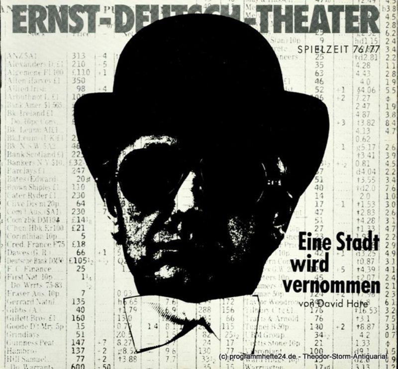 Ernst – Deutsch – Theater Hamburg, Friedrich Schütter, Wolfgang Borchert Programmheft Eine Stadt wird vernommen ( Knuckle ). Psycho-Thriller von David Hare. Premiere 13. Januar 1977. Spielzeit 1976 / 77 Heft 6 / 7