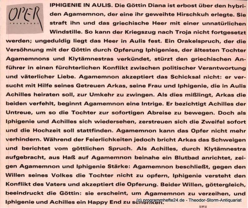 Oper Frankfurt, Städtische Bühnen Frankfurt, Heinz-Klaus metzger, Joachim Grafen, Christiane Pieper Programmheft zur Neuinszenierung von Iphigenie in Aulis / Iphigenie auf Tauris von Christoph Willibald Gluck. Premiere 30. Oktober 1987