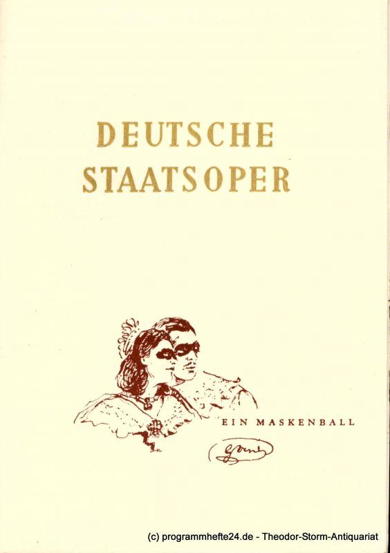 Deutsche Staatsoper Berlin, Fritz Schaefer Programmheft Ein Maskenball. Oper von Giuseppe Verdi. 22. Oktober 1952