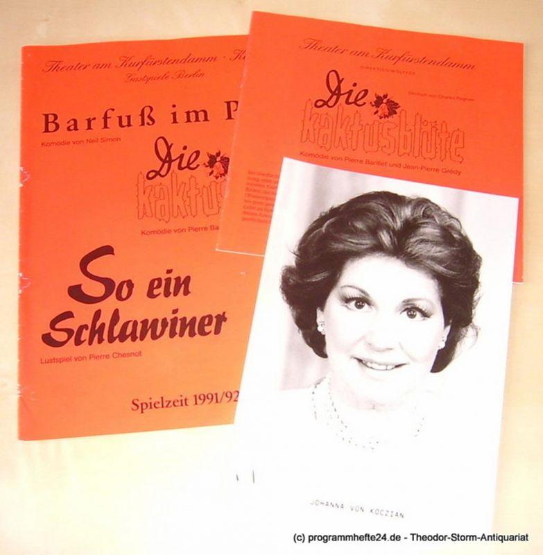 Theater am Kurfürstendamm, Direktion Wölffer, Kay Frotscher Programmheft Die Kaktusblüte. Spielzeit 1992 / 93 mit extra Beilagen