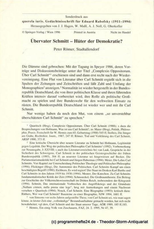 Römer Peter Übervater Schmitt - Hüter der Demokratie ?