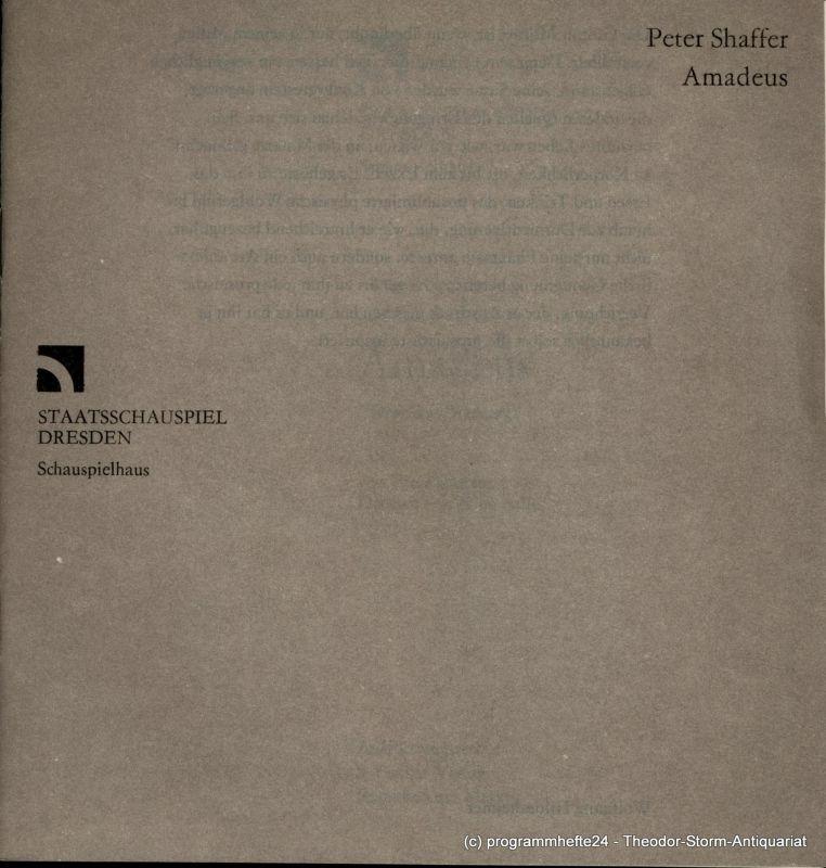 Staatsschauspiel Dresden, Schauspielhaus, Gerhard Wolfram, Johannes Richter Programmheft AMADEUS von Peter Shaffer. Premiere am 1. März 1985