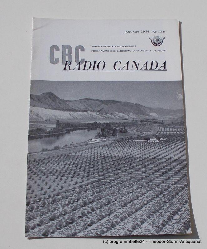 Canadian Broadcasting Corporation Programmheft CBC European Program Schedule RADIO CANADA JANUARY 1954