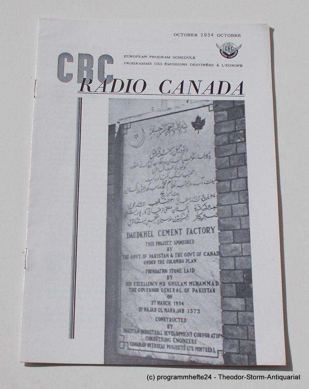 Canadian Broadcasting Corporation Programmheft CBC European Program Schedule RADIO CANADA OCTOBER 1954