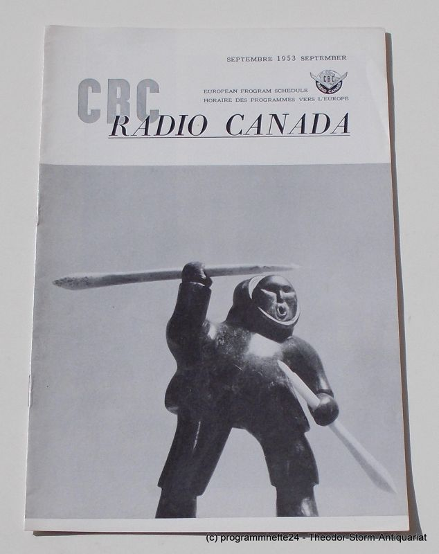 Canadian Broadcasting Corporation Programmheft CBC European Program Schedule RADIO CANADA SEPTEMBER 1953